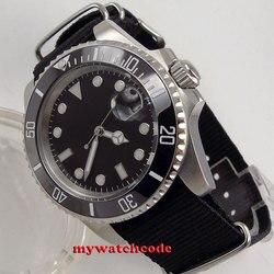 40mm bliger czarna tarcza świecące znaki szafirowe szkło miyota 8215 automatyczny męski zegarek