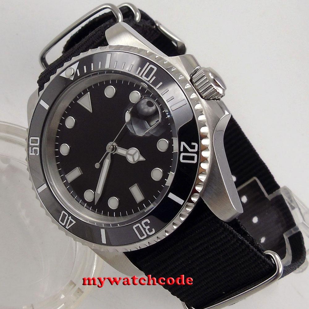40mm parnis black dial luminous marks sapphire glass automatic mens watch P210