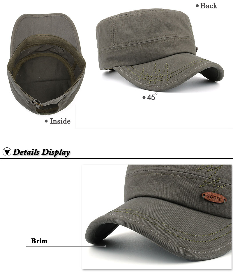 Adjustable Milicap - Inside, Front Angle and Brim Detail Views