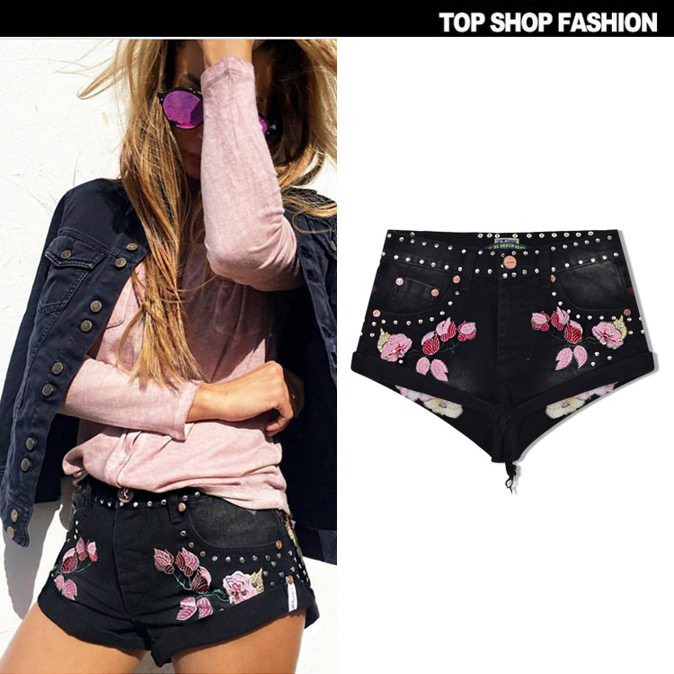 Elegant   Shorts   Denim Jeans Bermuda Korean fashion Hot 2018 Summer For Women Cool Casual Clothes Pink Floral Black