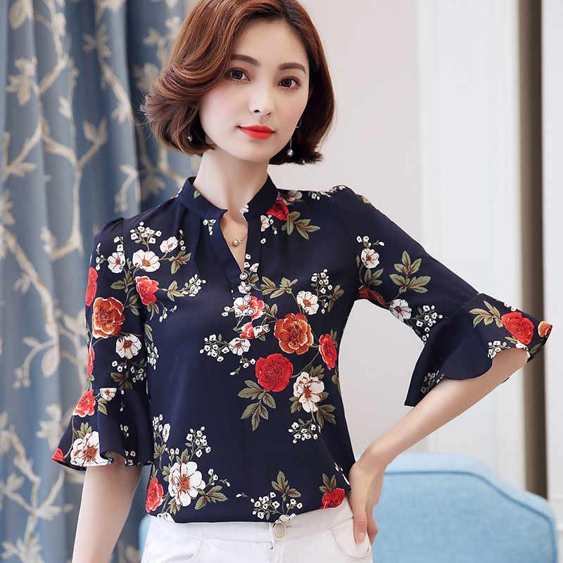 82e514803d9 ... 2018 Autumn Floral Chiffon Blouse Women Tops Flare Sleeve Shirt Women  Ladies Office Blouse Korean Fashion ...