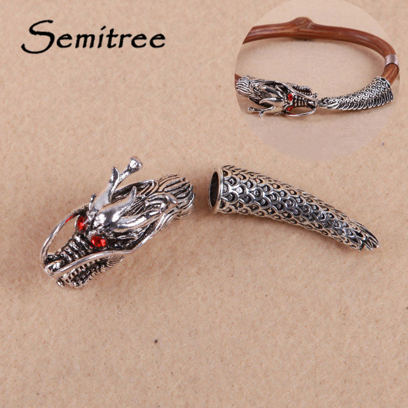 Semitree 1set Vintage Silver Red Evil Eyes Dragon Head Tail End Beads For DIY Punk Bracelet Fashion Jewelry Making Material