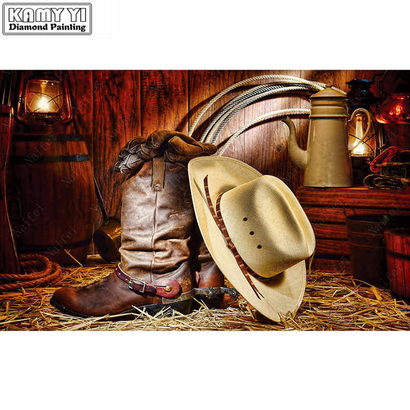 Diy-5d-Diamond-Painting-Cross-Stitch-cowboy-hat-boots-Full-Diamond-Embroidery-Painting-Improve-Children LK1