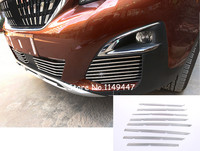 26PCS Stainless Steel Middle Grille Grill & Front Fog Light Cover Trim for Peugeot 5008 2017 2018