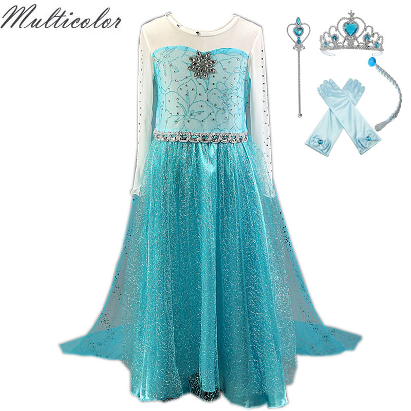 Hot Costume Elsa Anna Kids Halloween Cosplay Dress For Baby Girl Kids Vestidos Clothes Children Girls Elza Princess Long Dresses hot 2017 summer girl fashion elsa anna dress children clothing girls princess elsa anna party dresses baby kids clothes vestidos