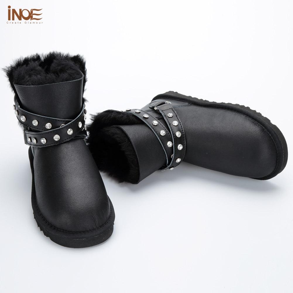 Prueba Para De Las Mujeres Agua Black La Metal Black Cuero Oveja Zapatos cloth Hebilla Tobillo Mujer Piel Natural Invierno Botas Moda Inoe silver Nieve A FUqvwv