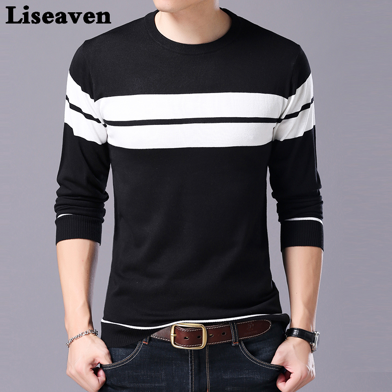 Liseaven Men Sweater Long Sleeve Striped Pullover Sweaters Winter Male Pullovers Tops