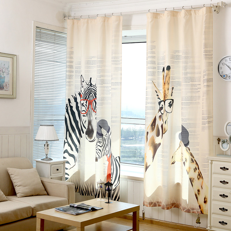 Curtains zebra giraffe children linen for bedroom living - Childrens bedroom blackout curtains ...