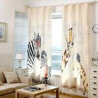 Curtains Zebra Giraffe Children Linen for Bedroom living room Curtain Kids Cartoon Window Blackout cortinas para sala DE luxo