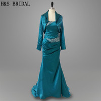Real Photo Cheap Mermaid Satin Beading Long Sleeves Jacket Evening Party Mother Of The Bride Dress