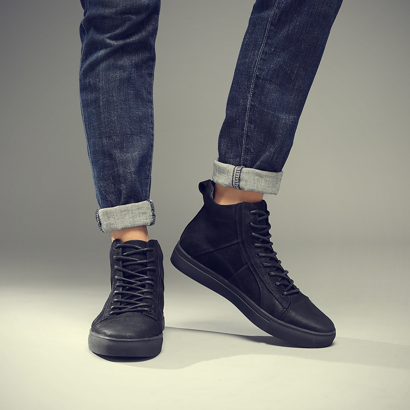 Fotwear Hommes Baskets En Cuir En Cuir chaussures décontractées haut de gamme de mode Noire avec à lacets Bon port avec jeans semelle Souple - 3