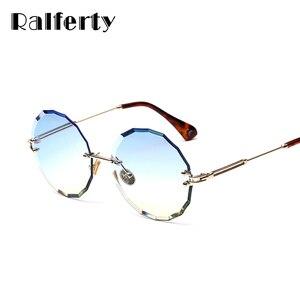 Ralferty 2019 جولة النظارات الشمسية النساء مصمم بدون شفة كريستال نظارات شمسية UV400 الإناث نظارة دي سولي غونيس gozlugu W18905