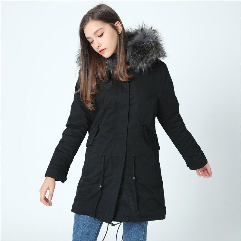 oftbuy дропшиппинг 2018 армейский зеленый холодной зимняя куртка женщины длинные настоящее пальто с мехом большой мех енота воротник с капюшоном толстые теплые парки