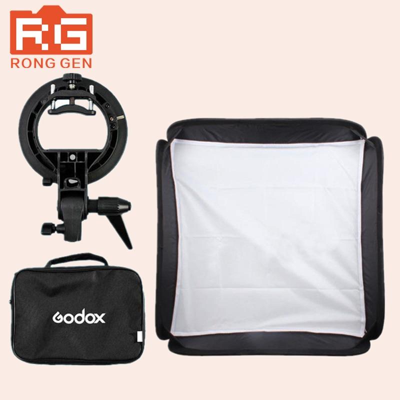 ФОТО Godox 60 x 60cm Flash Softbox Kit with S-Type Bracket Bowen Mount Holder For Camera Photo Studio