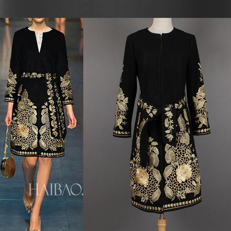 Black embroidered jacket Fall / Winter thick woolen coat embroidered gold  thread embroidery noble ladies wool