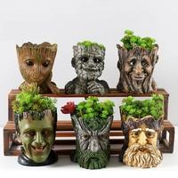 Смоляные горшки для цветов для сада, креативные Мультяшные статуи и животные, настольные бонсай, горшки для суккулентов, цветочный горшок