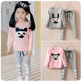 children's clothing girl baby sets child autumn child set 2017 autumn long-sleeve glass rabbit baby suits sports sets 2-7T