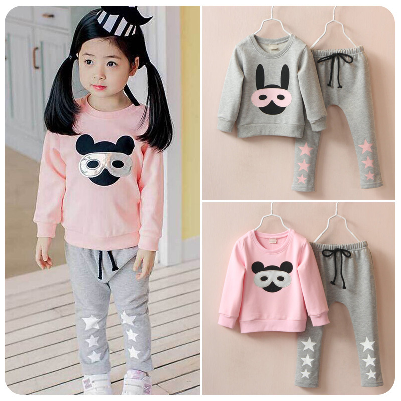 childrens clothing girl baby sets child autumn child set 2018 autumn long-sleeve glass rabbit baby suits sports sets 2-7T