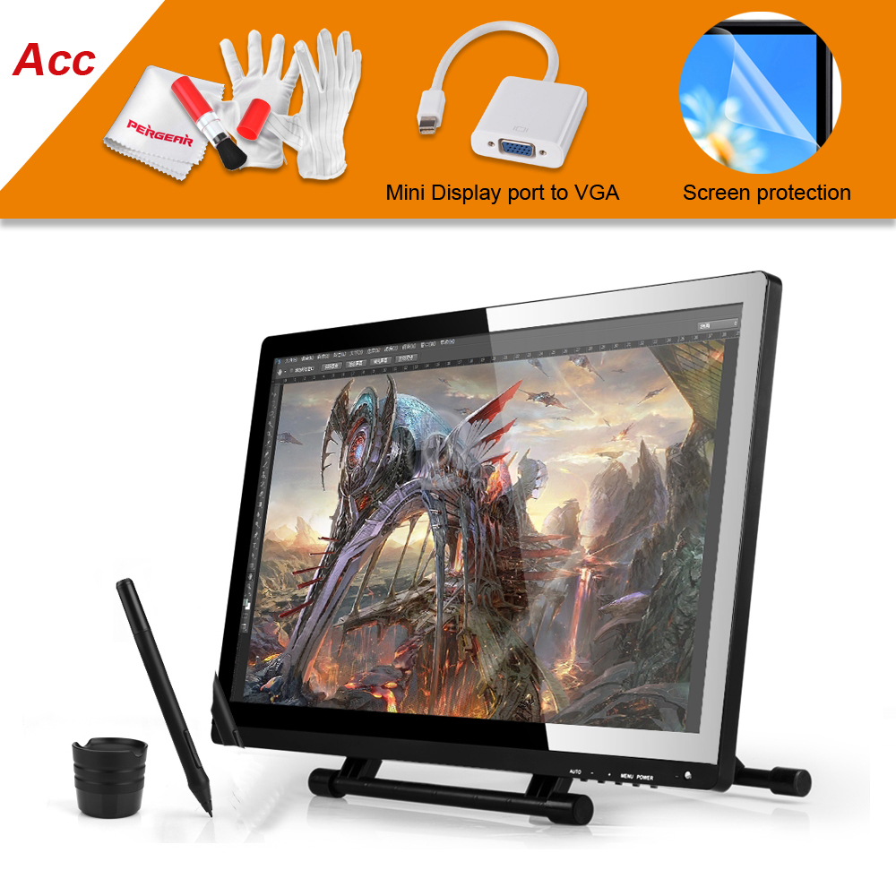 UGEE UG-2150 UG2150 Graphic Drawing Tablet 21.5″ IPS Monitor 1920×1080 HD Display+Screen Protector+VGA Adapter Cable For MacBook