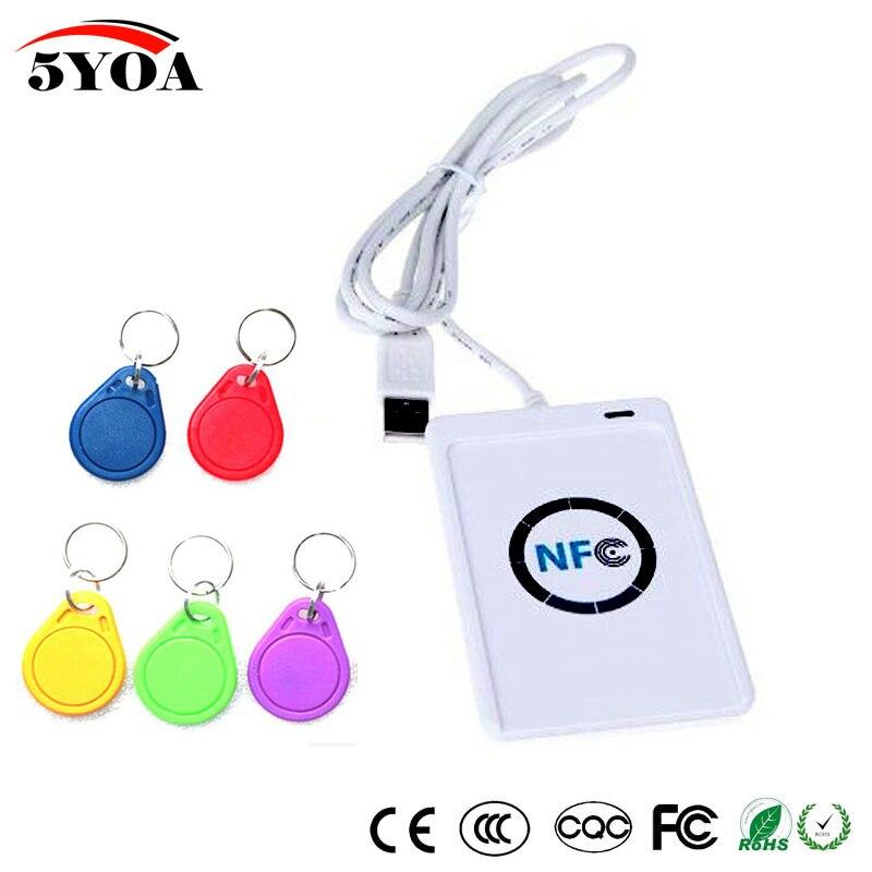 bilder für NFC ACR122U RFID smart card Reader Writer Copier Duplicator beschreibbare klon software USB S50 13,56 mhz ISO 14443 + 5 stücke UID Tag