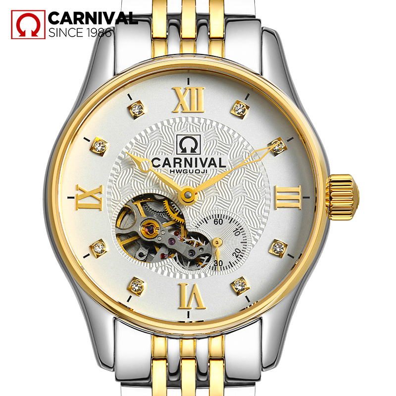 Carnival Watch Men Hollow Automatic Mechanical Luminous Gold Stainless Steel Waterproof multifunction White Dial Watches купить недорого в Москве