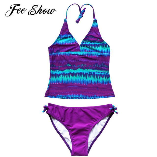 1eb499ccaec2a 8-16 Years New striped Girls Clothes 2PCS Halter Swimsuit Kids Tankini  Swimwear Children Girls Surfing Bathing Suit Set