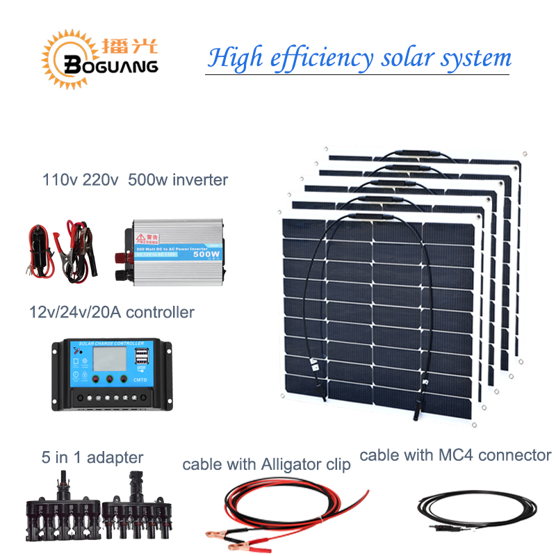Boguang 18v/50w flexible solar panel 250w solar module system cell 500w inverter 20A controller adapter cable 12v battery charge boguang 500w semi flexible solar panel solar system efficient cell diy kit module 50a mppt controller adapter mc4 connector