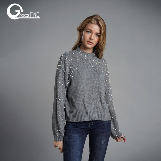 Korean Sweaters Pearl Beading Sweater Warm Lantern Sleeve Women Jumper  Casual Loose Gray Pullover Knitted Winter 371a59864
