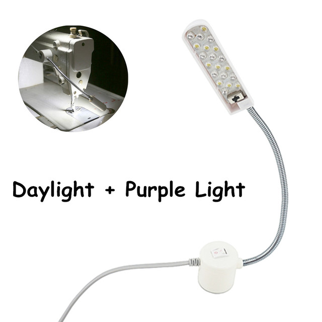 Double Light 1w 20pcs Led Sewing Gooseneck Work Lamp With Daylight And Purple For Machine Working Tools