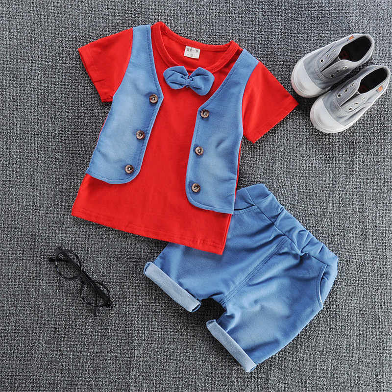 Lato nowe zestawy ubranek dla chłopca bawełna maluch krótki rękaw koszulki + spodenki sportowy garnitur dla Bebe Boy niemowlę Jogging stroje