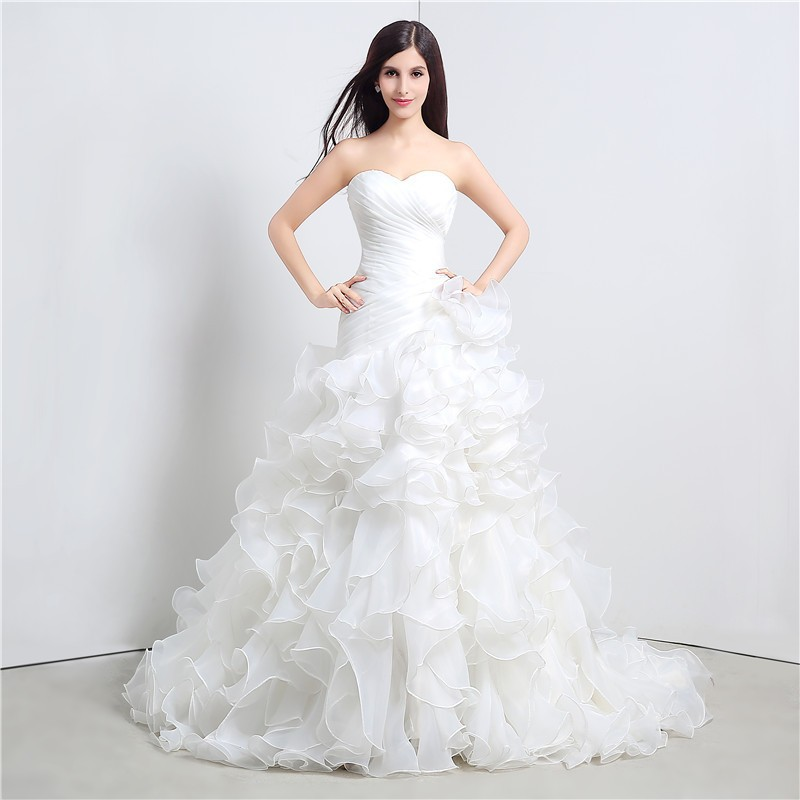Sweetheart Cascading Ruffles Mermaid Wedding Dress 1