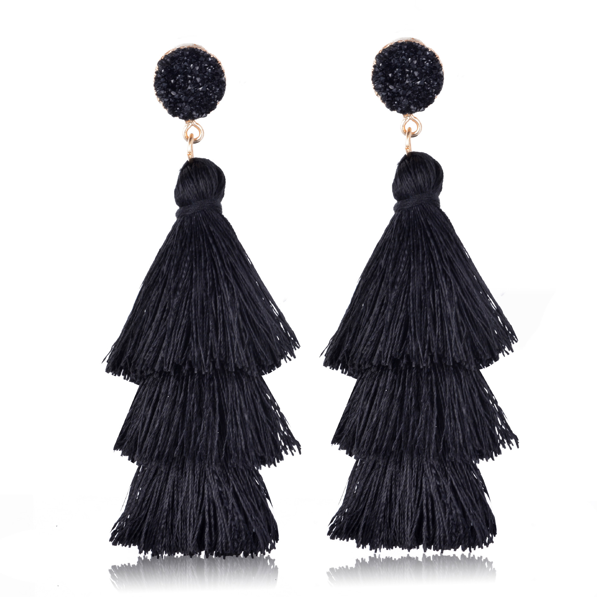 648aff0984a81a POSHFEEL Colorful Layered Tassel Earrings Bohemian Dangle Drop Tiered Tassel  Druzy Earrings for Women Gifts Wedding Jewelry