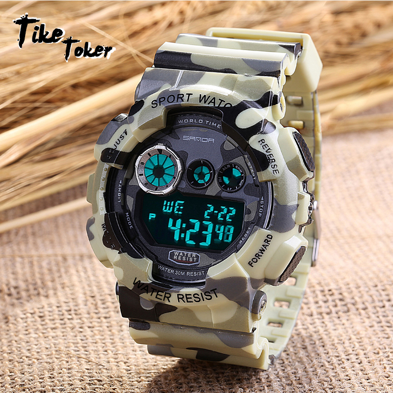 TIke Toker Men Sports Watch Analog Digital Quartz Wristwatches Luminous Camouflage SANDA S Shock Relojes LED Military Waterproof sanda fashion watch men g style waterproof led digital sports military shock men s analog quartz wristwatch relojes hombre