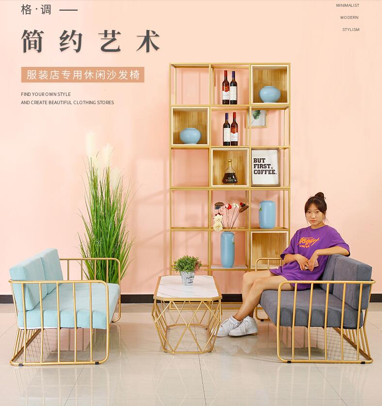 Golden simple sofa, table and chair combination, creative iron screen partition bird cage shelf