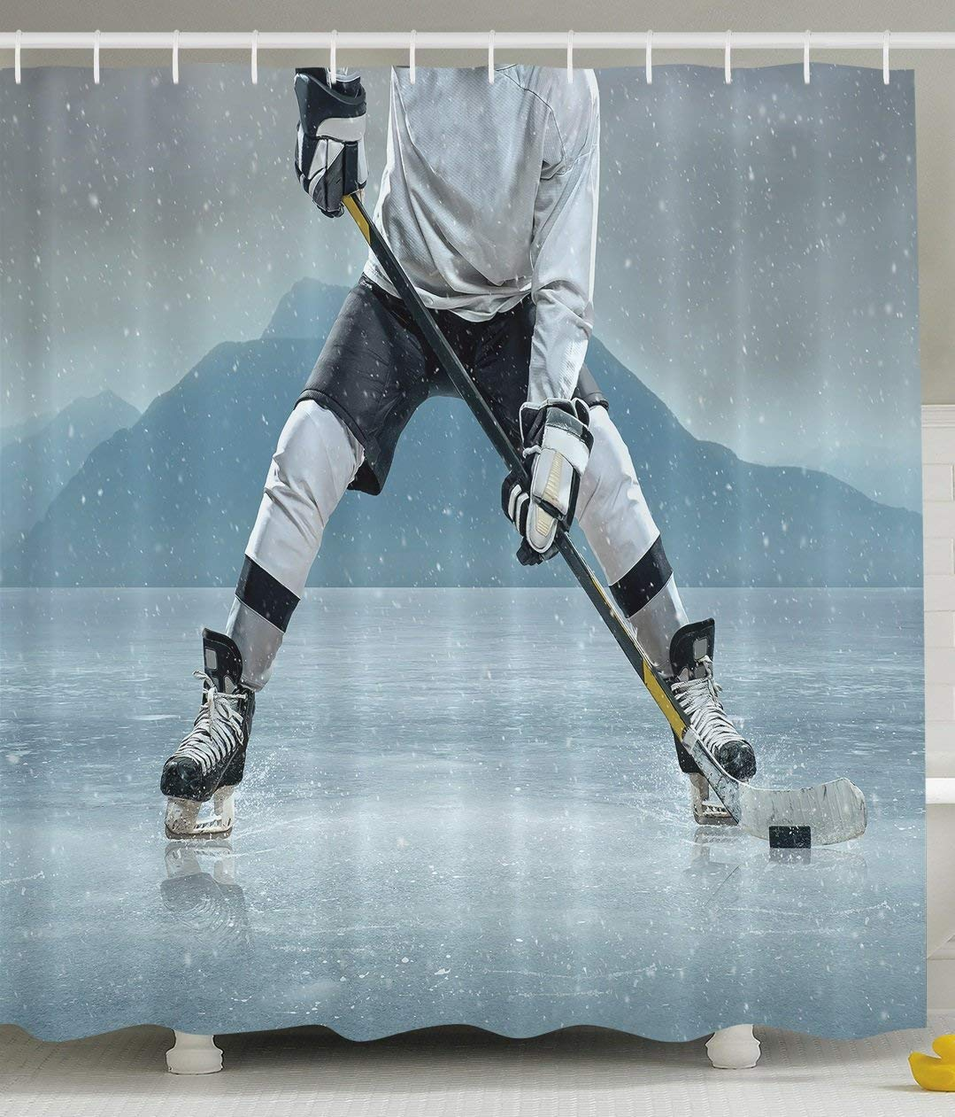 Husband Ice Hockey Player Skating Activity Outdoors Equipment Snow Game Winter Team Helmet Rink Man Sports Shower Curtain Famous For High Quality Raw Materials Full Range Of Specifications And Sizes And Great Variety Of Designs And Colors