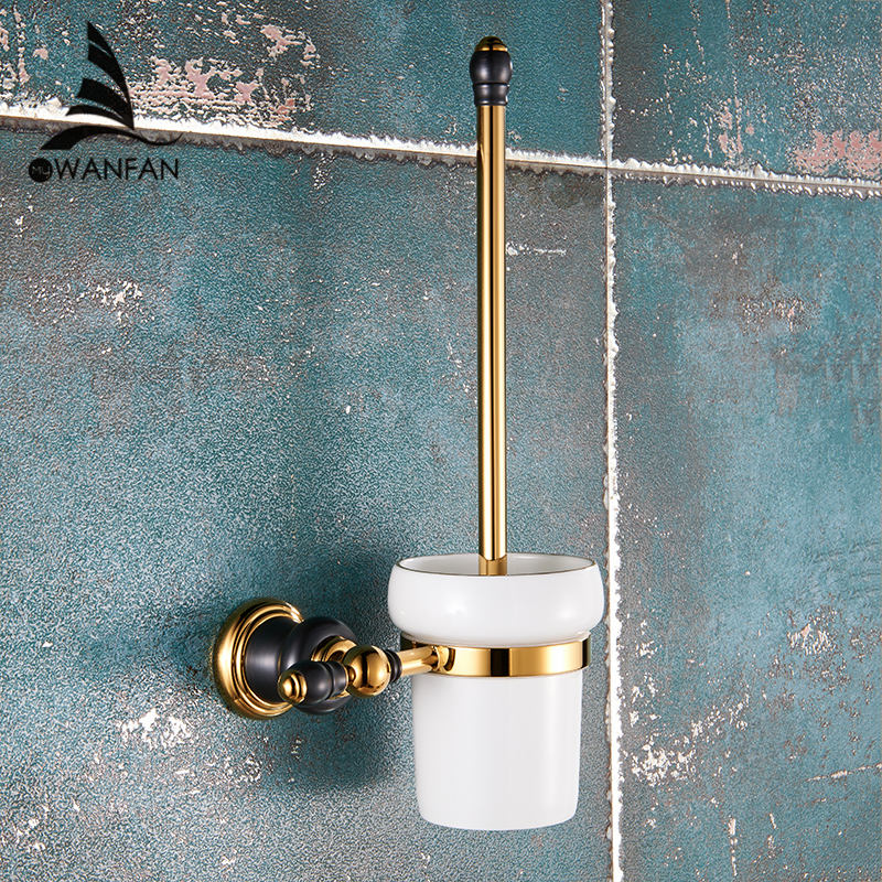 luxury golden toilet brush holder with ceramic cup brass bath brush rack toilet wall brush kit bathroom accessories xl 66809
