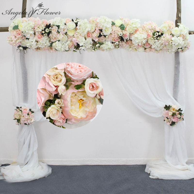 Dostosuj sztuczny kwiat rząd girlandowa dekoracja domu kurtyna weselna dekoracja drogi narożnik ściana kwiatów kwiat z jedwabiu centerpieces ball