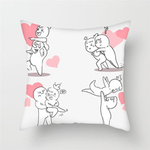 Fuwatacchi Cartoon Couple Printed Cushion Cover Cute Lover Image Pillow Cover for Car Home Sofa Decorative Pillowcase 2019 fuwatacchi home decor cartoon cushion cover cute stick figure couple image pillow cover for car sofa pillowcase 45cm 45cm