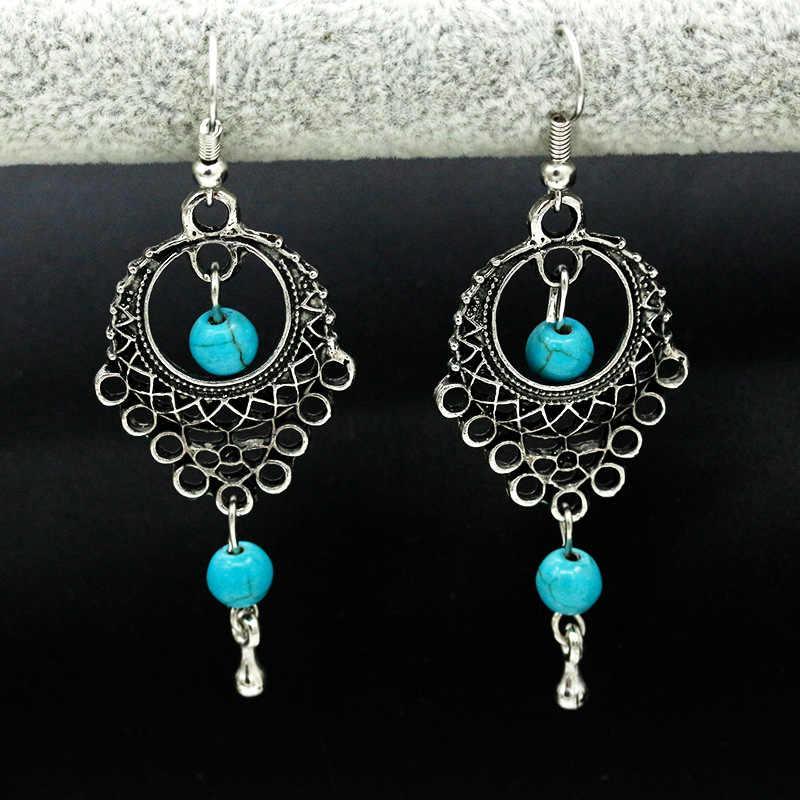 Dân tộc Bohemia Drop Bông Tai Cho Phụ Nữ Bạc Màu Xanh Hạt Earring Big Dài Tassel Statement Charm Vintage Jewelry