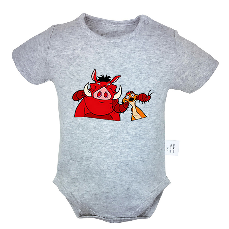 The Lion King Funng Pumbaa Timon Printed 0-18M Newborn Baby Girl Boys Clothes Short Sleeve Romper Jumpsuit Outfits 100% Cotton