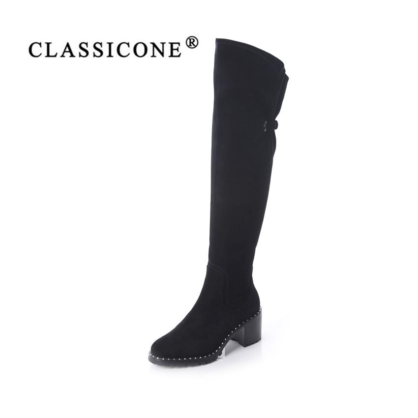 CLASSICONE chaussures femme d'hiver over-the-genou bottes en cuir véritable med talons laine à l'intérieur chaud marque de mode Unique est pas glissante