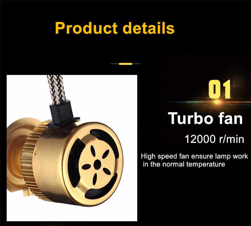Muxall סופר בהיר אוטומטי לבן זהב צבע 12V 10000LM H4 H7 H1 H8 H9 H11 Led רכב פנס 3000K 6000K צבע כפול Led פנס