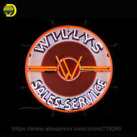 Willy's Sales ServicE Neon Sign Oil Station Board Handmade Glass Tube Neon Bulbs Neon Light Sign Decorate Business Display 24x24