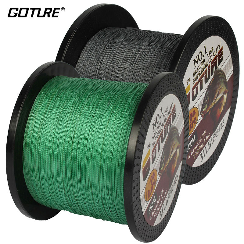Goture Brand Braided Fishing Line 500M 547Yards Multifilament PE 4 Strands Fishing Cord 12LB 80LB Strong Japan Technology