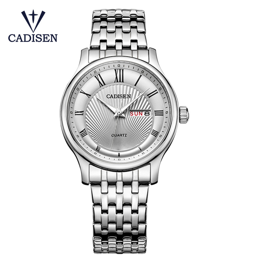 Cadisen Mens Watches Top Brand Luxury Business Stainless Steel Quartz Watch Men Classic Waterproof Clock relogio masculino 2018 migeer relogio masculino luxury business wrist watches men top brand roman numerals stainless steel quartz watch mens clock zer