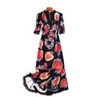 GoodliShowsi 2019 Summer Sexy Style Dress for Woman Mermaid V Neck Short Sleeve Slender Elegant Maxi Lady Dresses