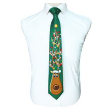 VEEKTIE 11 Styles 2018 New Design Christmas Necktie For Men Xmas Gift Ties 9cm Novelty Cravate Cartoon Printing Green Blue Red