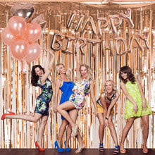 Multi Color 1*2m Unicorn Party Rose Gold Birthday Decoration Foil Fringe Tinsel Door Curtain Wedding Photo