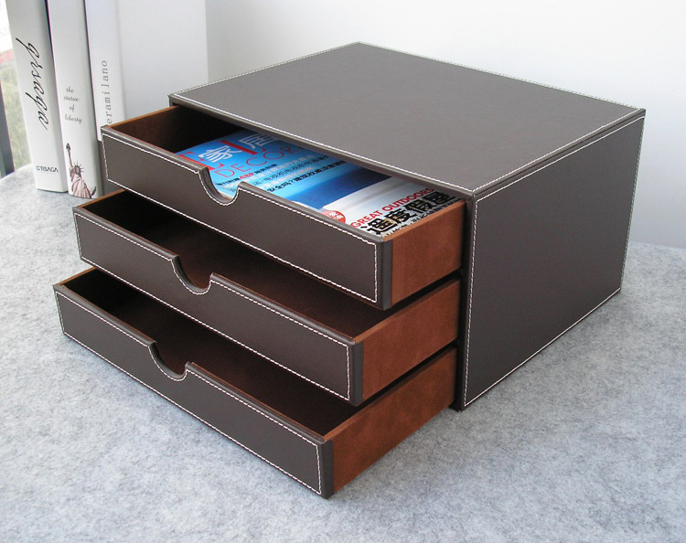 horizontal 3-layer 3-drawer wood struction leather desk filing cabinet storage box office organizer document container brown217B