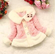 Fashion baby Girls faux fur coat Autumn/Winter Clothes Children Toddler kids Sweet worm outerwear jacket beautiful coat TMY42
